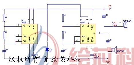 555组成蜂鸣器电路图